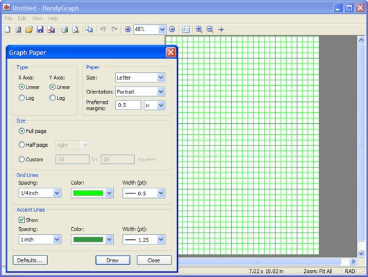 Graph paper software screenshot - HandyGraph
