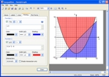 Screenshot of HandyGraph graphing inequalities and their intersection.  Method for graphing functions also shown.